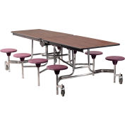 NPS® 8' Mobile Cafeteria Table with Stools - MDF - Walnut Top/Burgundy Stools/Chrome Frame