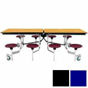 8' Mobile Cafeteria Table with Stool & Plywood Top, Blue Top/Black Stools