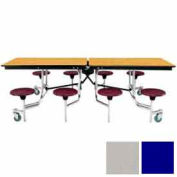 8' Mobile Cafeteria Table with Stool & Plywood Top, Blue Top/Gray Stools