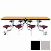 8' Mobile Cafeteria Stool Unit with Plywood Top, Gray Top/Black Stools