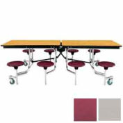 8' Mobile Cafeteria Stool Unit with Plywood Top, Gray Top/Burgundy Stools
