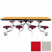 8' Mobile Cafeteria Stool Unit with Plywood Top, Gray Top/Red Stools