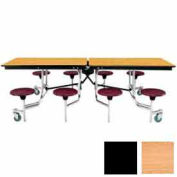 8' Mobile Cafeteria Stool Unit with Plywood Top, Light Oak Top/Black Stools