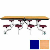 8' Mobile Cafeteria Stool Unit with Plywood Top, Light Oak Top/Blue Stools