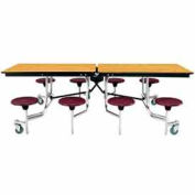 8' Mobile Cafeteria Table with Stool & Plywood Top, Light Oak Top/Burgundy Stools