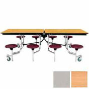 8' Mobile Cafeteria Stool Unit with Plywood Top, Light Oak Top/Gray Stools