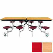 8' Mobile Cafeteria Table with Stool & Plywood Top, Light Oak Top/Red Stools