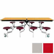 8' Mobile Cafeteria Stool Unit with Plywood Top, Red Top/Gray Stools