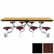 8' Mobile Cafeteria Stool Unit with Plywood Top, Walnut Top/Black Stools