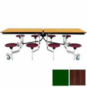 8' Mobile Cafeteria Stool Unit with Plywood Top, Walnut Top/Green Stools