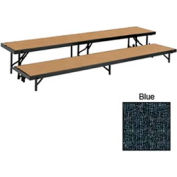"2 Level Straight Riser with Carpet - 96""L x 18""W - 8""H & 16""H - Blue"