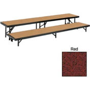 """2 Level Straight Riser with Carpet - 96""""L x 18""""W - 8""""H & 16""""H - Red"""