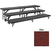 """3 Level Straight Riser with Carpet - 96""""L x 18""""W - 8""""H, 16""""H & 24""""H - Red"""