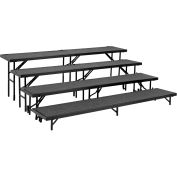 "4 Level Straight Riser with Carpet - 96""L x 18""W - 8"", 16"", 24"" & 32""H - Black"