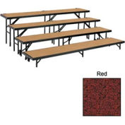 "4 Level Straight Riser with Carpet - 96""L x 18""W - 8""H, 16""H, 24""H & 32""H - Red"