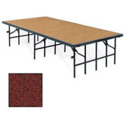 "Portable Stage with Carpet - 96""L x 48""W x 16""H - Red"