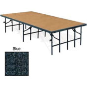 """Portable Stage with Carpet - 96""""L x 48""""W x 32""""H - Blue"""