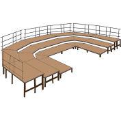 """48""""W Carpet Stage Configuration w/9 Stage Units, 12 Pie Units &Guard Rails-Black"""