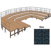 """48""""W Carpet Stage Configuration w/9 Stage Units, 12 Pie Units & Guard Rails-Blue"""