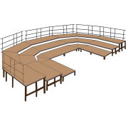 """36""""W Carpet Stage Configuration w/9 Stage Units, 12 Pie Units &Guard Rails-Black"""