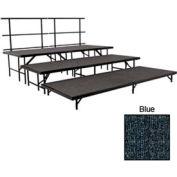"Stage Set with Carpet - 96""L x 48""W - 8""H, 16""H, 24""H & Two Guard Rails - Blue"