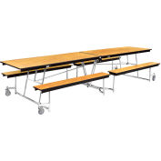 NPS® 12' Mobile Cafeteria Table with Benches - MDF - Oak Top/Chrome Frame