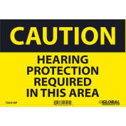 Global Industrial™ Caution Hearing Protection Required, 7x10, Pressure Sensitive Vinyl