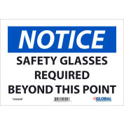 Global Industrial™ Notice Safety Glasses Required, 7x10, Pressure Sensitive Vinyl