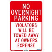 Global Industrial™ No Overnight Parking Violators Will Be Towed, 18x12, .080 Aluminum