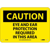 "NMC C151R OSHA Sign, Caution Eye & Ear Protection Required In This Area, 7"" X 10"", Yellow/Black"