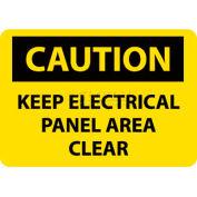 "NMC C167P OSHA Sign, Caution Keep Electrical Panel Area Clear, 10"" X 7"", Yellow/Black"