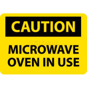"NMC C180R OSHA Sign, Caution Microwave Oven In Use, 7"" X 10"", Yellow/Black"