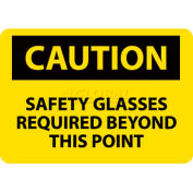 "NMC C351RB OSHA Sign, Caution Safety Glasses Required Beyond This Point, 10"" X 14"", Yellow/Black"