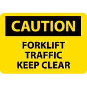 "NMC C356RB OSHA Sign, Caution Forklift Traffic Keep Clear, 10"" X 14"", Yellow/Black"
