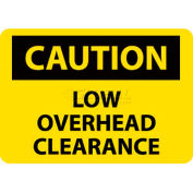 "NMC C359P OSHA Sign, Caution Low Overhead Clearance, 7"" X 10"", Yellow/Black"