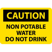 "NMC C361P OSHA Sign, Caution Non-Potable Water Do Not Drink, 7"" X 10"", Yellow/Black"