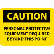 """OSHA Sign, Caution Personal Protective Equipment Required Beyond This Point, 10"""" X 14"""", Yw/Blk"""