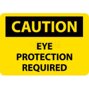 "NMC C485RB OSHA Sign, Caution Eye Protection Required, 10"" X 14"", Yellow/Black"