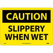 "NMC C57RB OSHA Sign, Caution Slippery When Wet, 10"" X 14"", Yellow/Black"