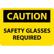 "NMC C600RB OSHA Sign, Caution Safety Glasses Required, 10"" X 14"", Yellow/Black"