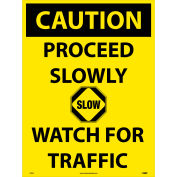 """NMC C748E Snow Safety Sign, CAUTION Proceed Slowly Watch For Traffic, 24"""" x 18"""", Yellow/Black"""