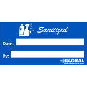 """Global Industrial™ Sanitized Sign, Adhesive, 2"""" x 4"""""""