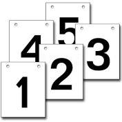 """Hanging Aisle Sign, Vertical, 1-Side, 1-5 Range, BLK/WHT, 12""""L X 18""""H"""