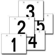 "Hanging Aisle Sign, Horizontal, 2-Side, 1-5 Range, BLK/WHT, 18""L X 12""H"