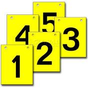 """Hanging Aisle Sign, Vertical, 1-Side, 1-5 Range, BLK/YEL, 12""""L X 18""""H"""