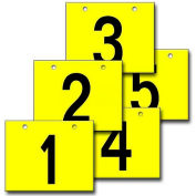 "Hanging Aisle Sign, Horizontal, 2-Side, 1-5 Range, BLK/YEL, 18""L X 12""H"