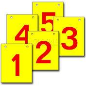 "Hanging Aisle Sign, Vertical, 2-Side, 1-5 Range, RD/YEL, 12""L X 18""H"
