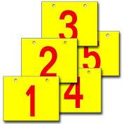 "Hanging Aisle Sign, Horizontal, 1-Side, 1-5 Range, RD/YEL, 18""L X 12""H"