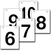 """Hanging Aisle Sign, Vertical, 1-Side, 6-10 Range, BLK/WHT, 12""""L X 18""""H"""
