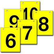 """Hanging Aisle Sign, Vertical, 1-Side, 6-10 Range, BLK/YEL, 12""""L X 18""""H"""